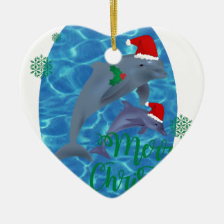 santa claus merry christmas dolphins christmas ornament