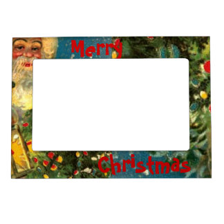 Santa Claus Merry Christmas Fridge Magnet Frame Picture Frame Magnets