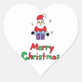 Santa Claus Merry Christmas Heart Sticker