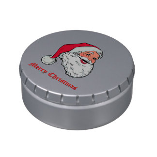 Santa Claus Merry Christmas Jelly Belly Candy Tin