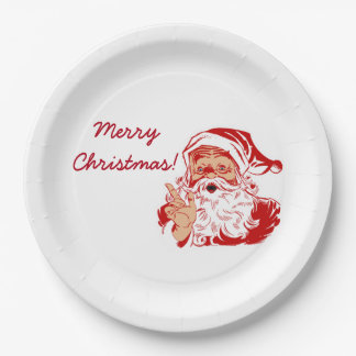 Santa Claus Merry Christmas Paper Party Plates 9 Inch Paper Plate