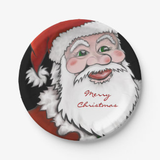 Santa Claus Merry Christmas Paper Plates 7 Inch Paper Plate