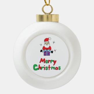 Santa Claus Merry Christmas Ceramic Ball Christmas Ornament