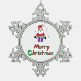 Santa Claus Merry Christmas Snowflake Pewter Christmas Ornament