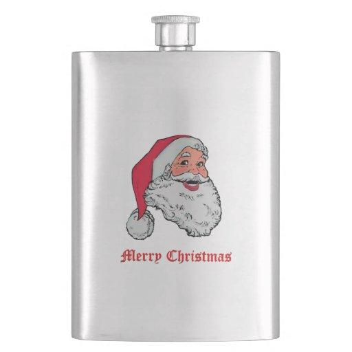 Santa Claus Merry Christmas Hip Flasks