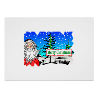 Santa Claus Merry Christmas Poster