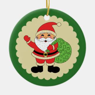 Santa Claus Merry Christmas Round Ceramic Decoration