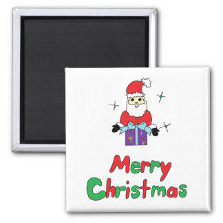 Santa Claus Merry Christmas Square Magnet