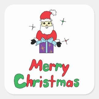 Santa Claus Merry Christmas Square Sticker