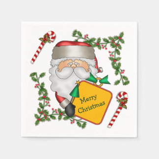 Santa Claus Message Holiday Paper Napkin