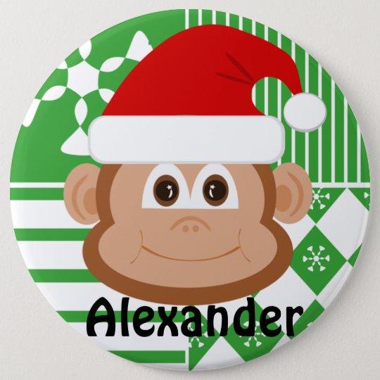 Santa Claus Monkey Personalised Stocking Button