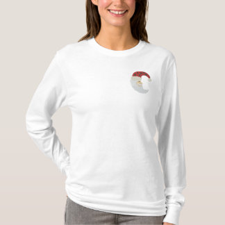 Santa Claus Moon Embroidery Pattern Embroidered Long Sleeve T-Shirt