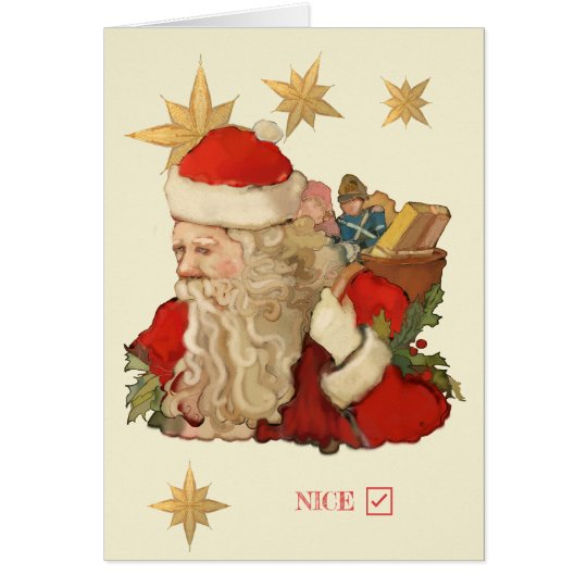 Santa Claus Nice List Humour Personalise Christmas Card
