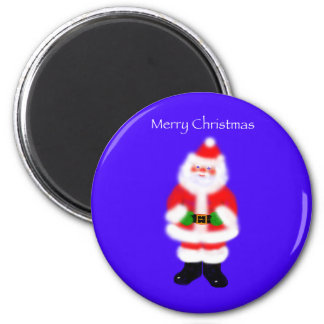 Santa Claus on Blue 6 Cm Round Magnet