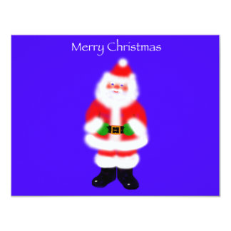 "Santa Claus on Blue 4.25"" X 5.5"" Invitation Card"