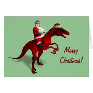 Santa Claus On Dino Card