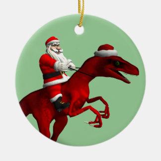 Santa Claus On Dinosaur Christmas Ornament