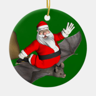 Santa Claus On Flying Bat Christmas Ornament