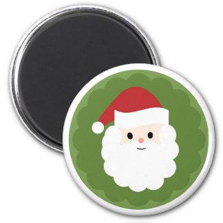 Santa Claus on green on round magnet