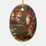 Santa Claus On His Way 4 Christmas Tree Ornaments