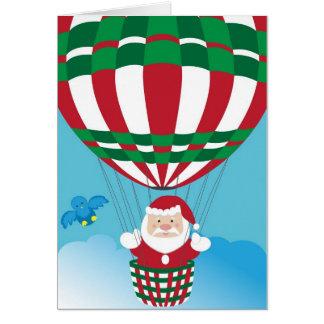 Santa Claus on hot air balloon Greeting Card