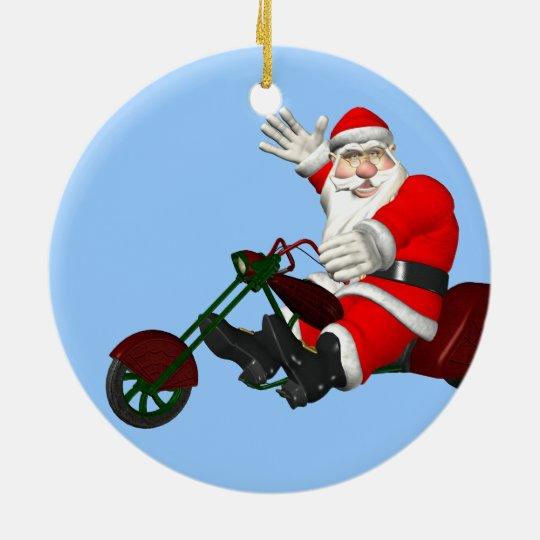 Santa Claus On Motor Trike Christmas Ornament