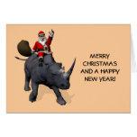 Santa Claus On Rhino Rhinoceros