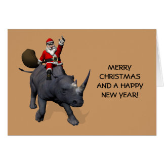 Santa Claus On Rhino Rhinoceros Card