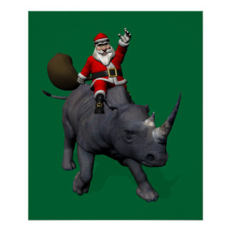 Santa Claus On Rhino Rhinoceros Poster
