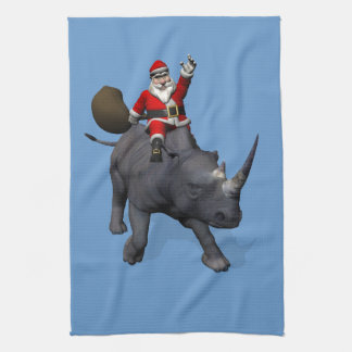 Santa Claus On Rhino Rhinoceros Tea Towel