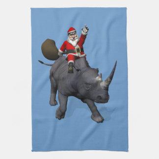 Santa Claus On Rhino Rhinoceros Tea Towels