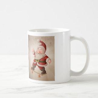 Santa Claus on skateboard Basic White Mug