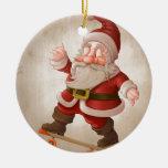 Santa Claus on skateboard Christmas Ornament