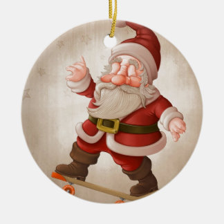 Santa Claus on skateboard Christmas Ornament