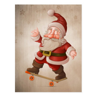 Santa Claus on skateboard Postcard