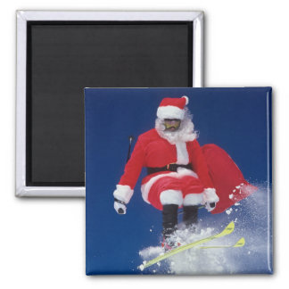 Santa Claus on skis jumping off a cornice at Square Magnet