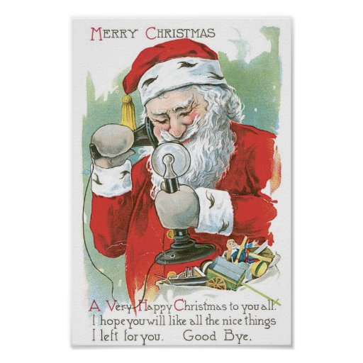 Santa Claus on Telephone Posters