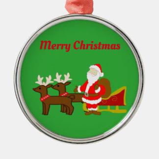 santa claus on the christmas sleigh christmas ornament