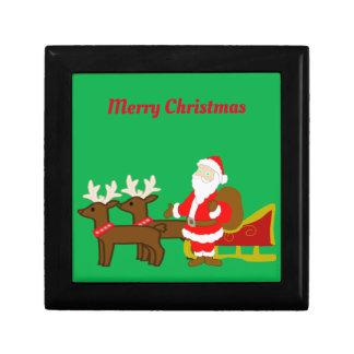 santa claus on the christmas sleigh gift box