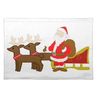 santa claus on the christmas sleigh placemat