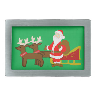 santa claus on the christmas sleigh rectangular belt buckle