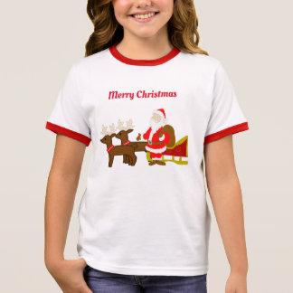 santa claus on the christmas sleigh ringer T-Shirt