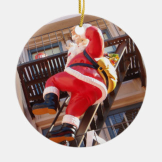 Santa Claus on the Fire Escape Christmas Ornament