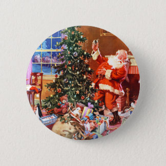 Santa Claus on The Night Before Christmas 6 Cm Round Badge