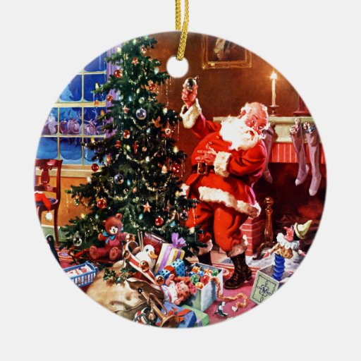 Santa Claus on the Night Before Christmas Ornament