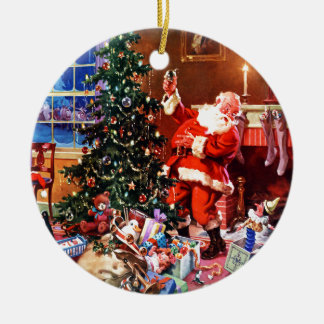 Santa Claus on the Night Before Christmas Round Ceramic Decoration