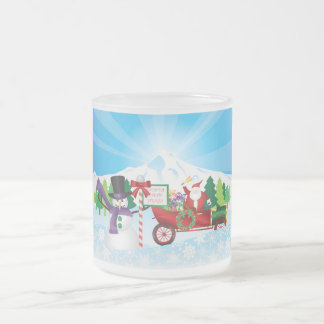 Santa Claus on Vintage Car Winter Scene Mug