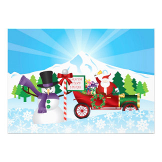 Santa Claus on Vintage Car Winter Season Card