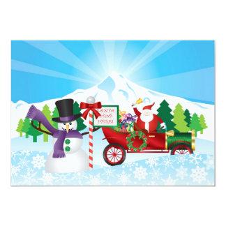 Santa Claus on Vintage Car Winter Season Card 13 Cm X 18 Cm Invitation Card