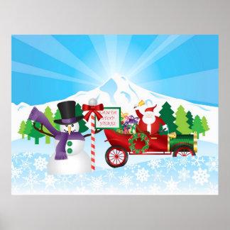 Santa Claus on Vintage Car Winter Season Poster